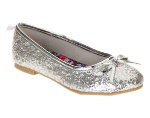 NEW Youth Girls Faded Glory Silver Glitter Memory Foam Flats Dress Shoes Size 6