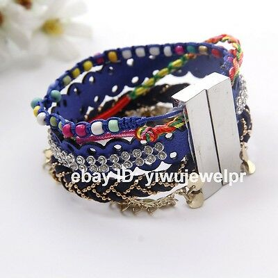 Womens Braided Blue Lace Leather Bracelet Wrap Cuff Bangle with Magnetic Clasp