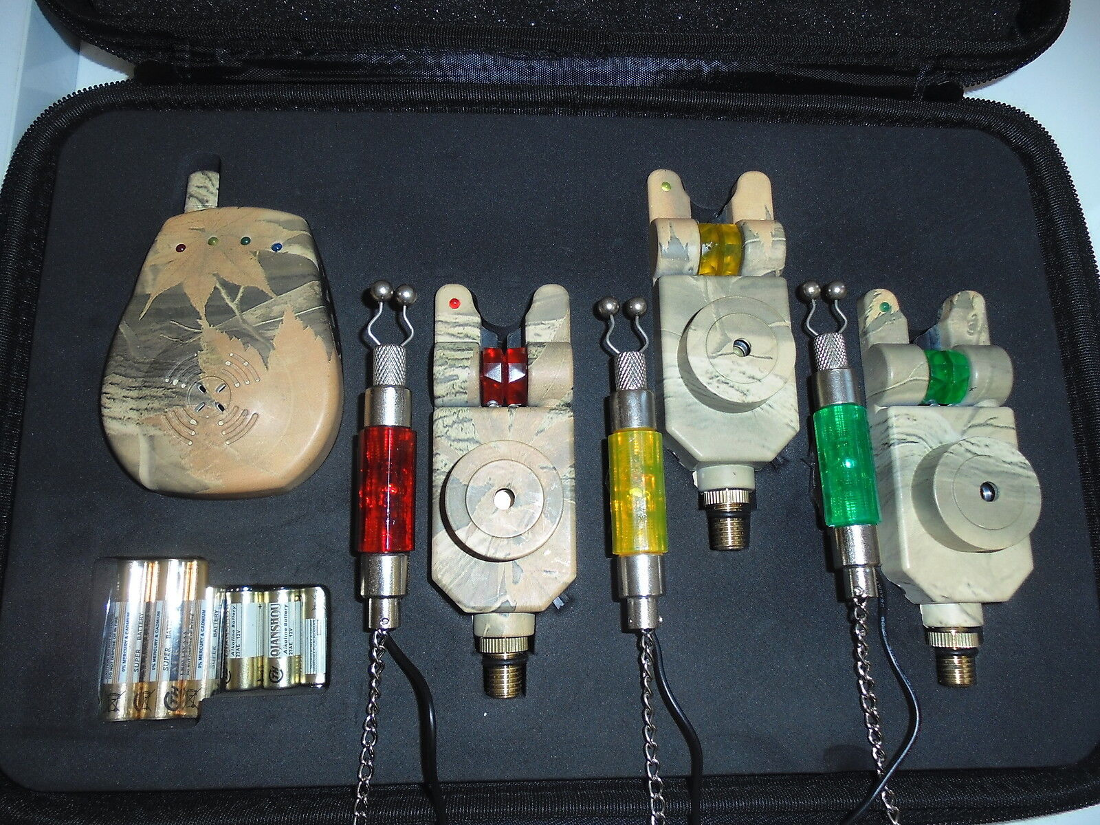 3 x Slim Camo bite alarms, receiver + 3 x illum hangers, Mufflers + Free Gift