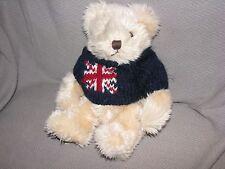 HARRODS STUFFED PLUSH TEDDY BEAR SHAGGY FURRY CORDUROY FEET UNION JACK SWEATER