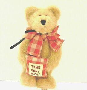 Boyds Bear Plush #1 Teacher Bear with Apple Plaid Bow Christmas Miss Beasley