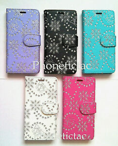 Diamond-Flip-Leather-Card-Wallet-Case-Cover-For-Samsung-Galaxy-Mobile-Phones