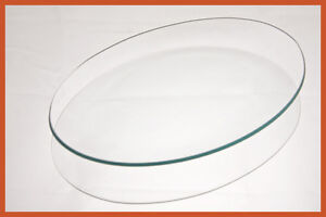 "7""x 10"" Oval Clear ""BENT"" Glass Plate 1/8"