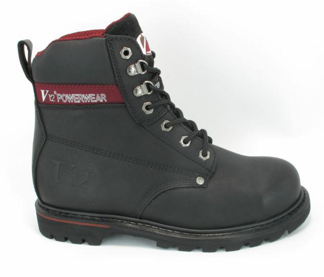 V12 pour homme en cuir noir travail powerwear steel toe cap bottes, V1235 Boulder
