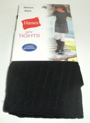 "HANES Girls/' Tights BLACK Size MEDIUM 48-55/"" 55-72 lbs New Carded"