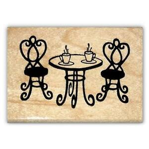 Paris Cafe Table French Mounted Rubber Stamp France EBay - Paris cafe table