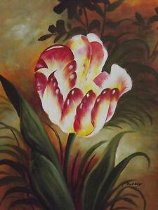 ... Contemporain Rouge Jaune Fleur Large Huile Peinture Toile