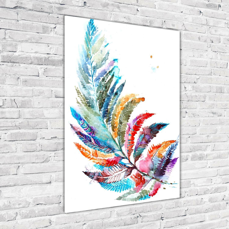 Wand-Bild Kunstdruck aus Acryl-Glas Hochformat 70x100 Bunter Farn