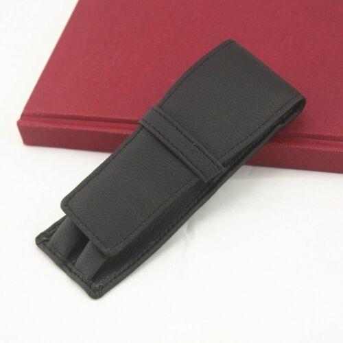 Black Leather Pen Bag Holder Pencil Case Office School Supplies Double Pouch