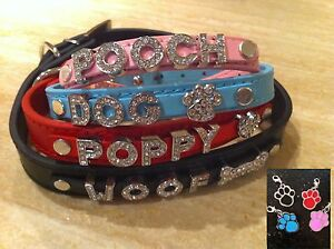 GENUINE-REAL-LEATHER-CRYSTAL-PERSONALISED-DOG-PUPPY-COLLAR-LEAD-XS-XL-UK-SELLER