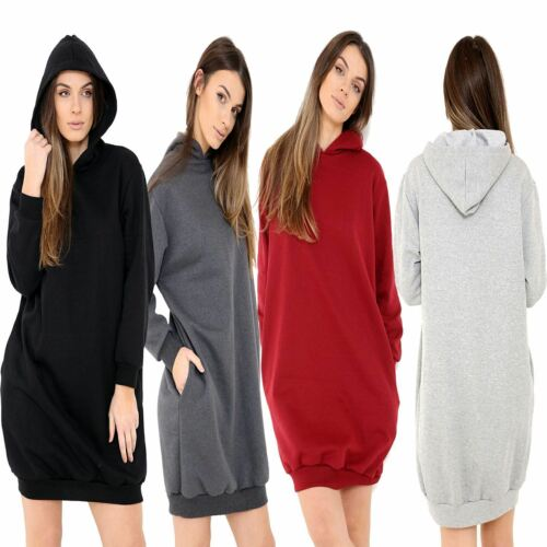 Womens Oversized Baggy Loose Ladies Side Pockets Hooded Sweatshirt Tunic Dress