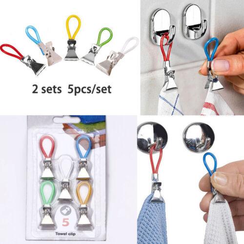 10 Stück Clips für Handtücher Aufhänger Geschirrtuch Handtuchhaken Handtuchclips