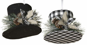 Christmas-Holiday-Black-Plaid-Top-Hat-With-Pine-Hanging-Ornaments-Decoration