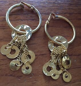 Vintage-80s-90s-Gold-Huge-Drop-Hoop-Earrings-Estate-Clip