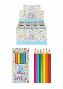 10 Packs 6 Mini Colouring Pencils Boys Girls Party Bag Fillers Lucky Dip Toys