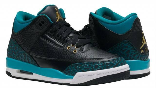 Nike Girls Air Jordan 3 Retro GG Black/Metallic Gold-Teal Leather Comfortable