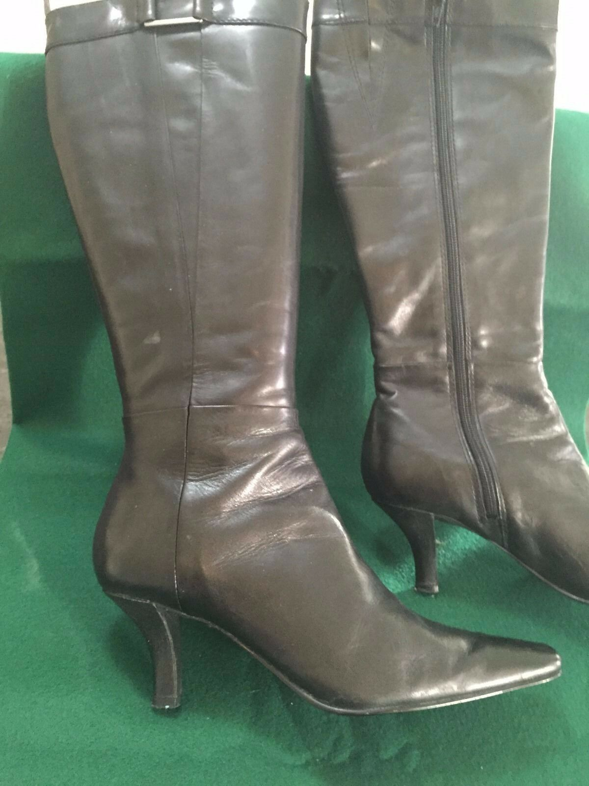 BANDOLINO BLACK WOMEN Tall BOOTS SIZE 38 7 HEEL 2 3/4 IN
