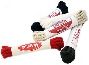 WAPROO-90CM-CORDED-SHOELACES-Black-Brown-Bone-White-Red-BOOT-Shoe-Laces