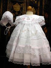 NWT Will'beth White Fancy Lace Dress 3pc Set Newborn Bonnet & Bloomers Baby Girl