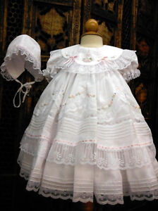 NWT-Will-039-beth-White-Fancy-Lace-Dress-3pc-Set-Newborn-Bonnet-Bloomers-Baby-Girl