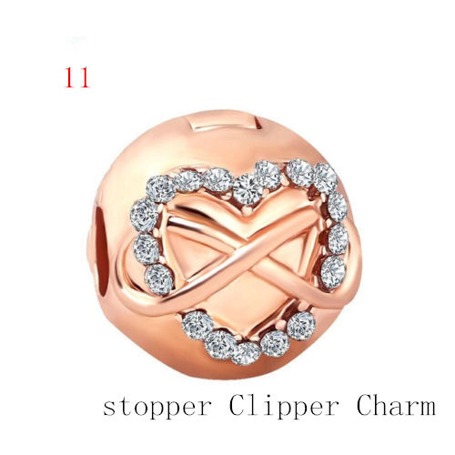 2018 New European Rose Gold Charm Bead Fit 925 Necklace Bracelet Chain