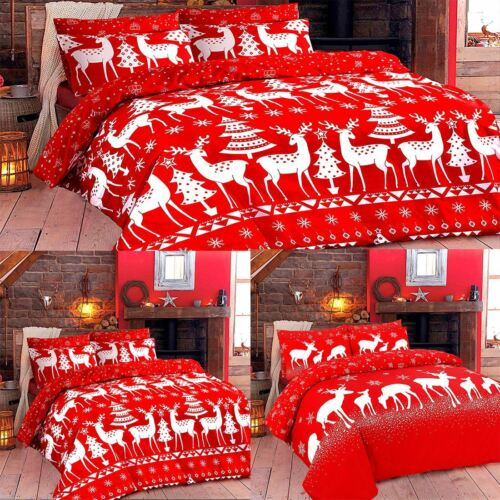Christine Reindeer December Rudolph Print Xmas Duvet Cover Bedding Set All Size