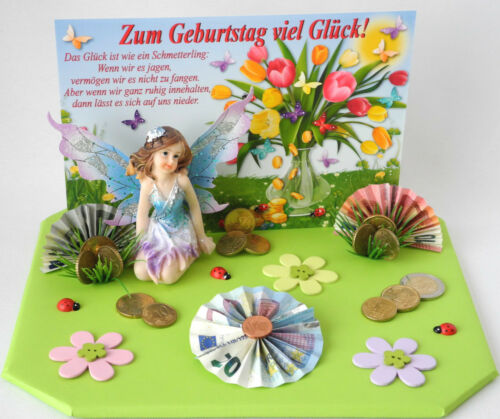 Karte Geldgeschenk zum Geburtstag viel Glück versch Farben Blumenelfe