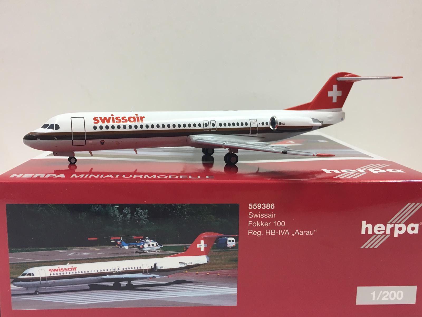 Herpa Wings Swissair Fokker 100  Aarau  1 200 Hell Boy-IVA 559386