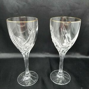 Lenox-Crystal-Debut-Gold-Set-of-Two-Water-Goblets-Gold-Rim-8-1-4-NICE
