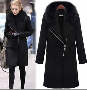 12f5405bc7b Women's black fur collar wool Jacket Coat trench Woolen Coat parka ...