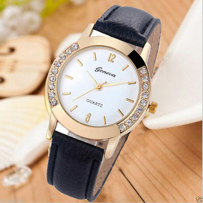 Fashion Classic Analog Womens Watch Diamond Leather Band Quartz Wrist Watch Gift