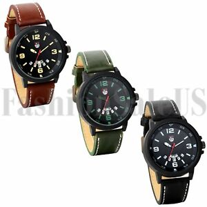 Men-039-s-Round-Digital-Dial-Army-Infantry-Leather-Band-Sports-Analog-Quartz-Watch