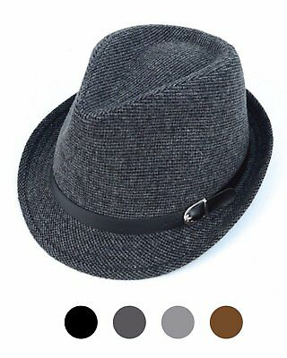 b6955e09ea96d Men s All Season Fashion Wear Fedora Hat Everyday Use with Black Buckle Band