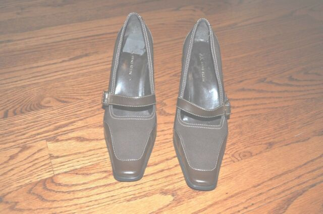 Womens ANNE KLEIN Brown Leather/Fabric Heels Shoes Size 8.5 M ~NICE~