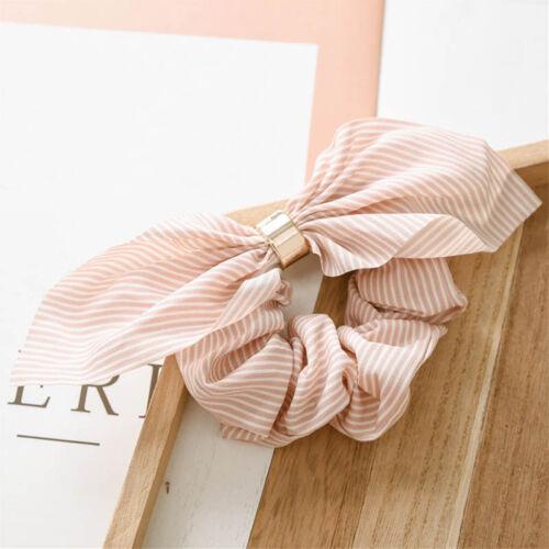 Women Hair Accessories Stripe Chiffon Rabbit Ear Bowknot Hair Scrunchy Rope Ring