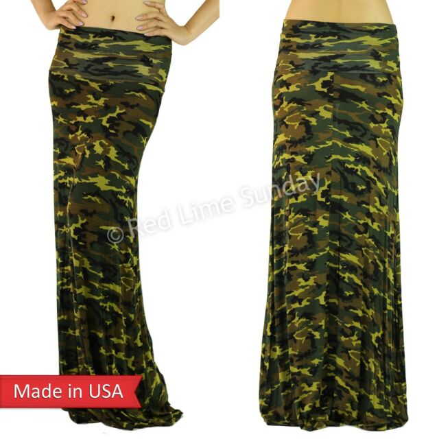 Womens Camo Camouflage Soft Rayon Wide Fold Over Army Green Long Maxi Skirt USA