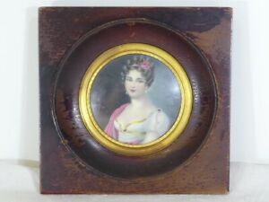 Ancienne-Peinture-miniature-jeune-femme-Signe-ALLAIN