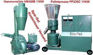 Pelletpresse-PP230C-11KW-amp-Hammermuehle-HM420B-11KW-Holz-amp-Tier-Pellet-Set