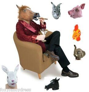 Full-Overhead-Rubber-Animal-Mask-Horse-Pig-Panda-Rabbit-Chicken-Zoo-Fancy-Dress