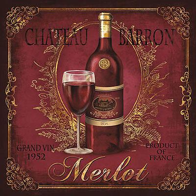 Conrad Knutsen: Chateau Barron Keilrahmen-Bild Leinwand Wein Küche