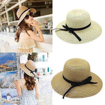 Fashion Women Summer Bohemia Cap Wide Brim Beach Sun Hat Straw Floppy Elegant