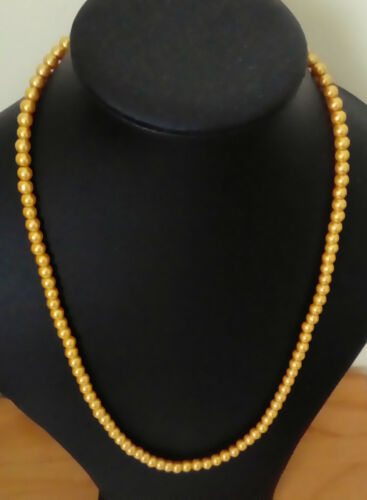 """24/"""" 6mm Gold Yellow Glass Pearl Necklace Golden Lobster Clasp"""