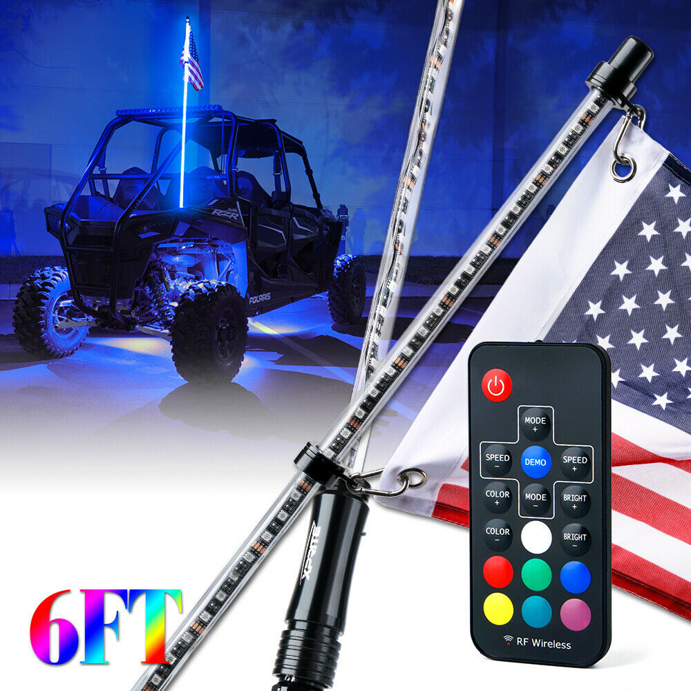 SXS Remote Controlled RGB LED Whip Light Waterproof Flag Pole Safety Antenna with Multi-Color Chasing Dancing Light for Offroad Jeep Xprite 6ft ATV 1.8M UTV Polaris RZR,Trucks Buggy Dunes