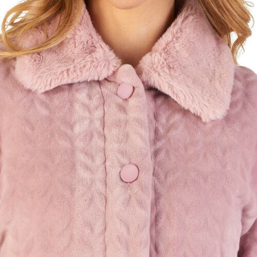 Bed Jacket Slenderella Womens Button Up Super Soft Faux Fur Collar House Coat