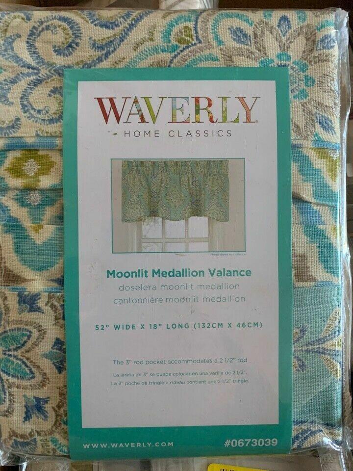 Waverly Valance Moonlight Medallion Golden Cotton Rod Pocket Teal Orange Gold