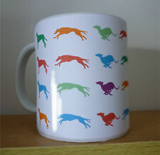 Greyhound Mug, running greyhounds Gift in Multi Colours % to Greyhound Charity