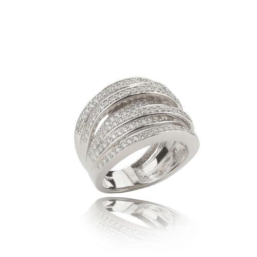 Ring 925 Sterling Silber in Wickeloptik mit Zirkonia Gr 50 52