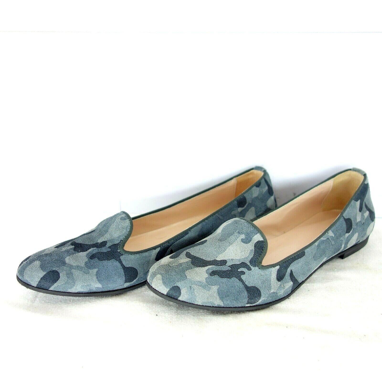 GALLUCCI Damen Schuhe Ballerinas Loafer Blau Leder Camouflage Rund NP 169 NEU