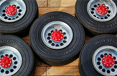 Truck wheel set scale 1:18  fit trailers for Mercedes Actros Eligor or Peterbilt
