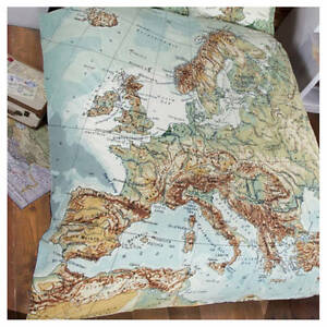 Vintage world map atlas globe duvet quilt cover bed set single image is loading vintage world map atlas globe duvet quilt cover gumiabroncs Image collections